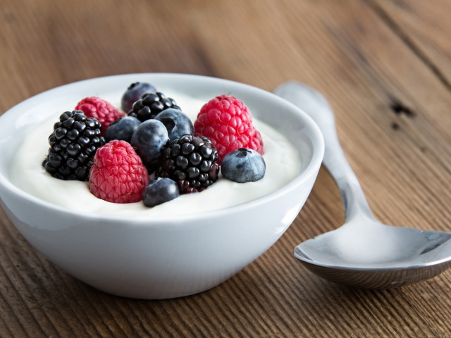 Pairing yogurt with blueberries or strawberries will give you an extra dose of vitamin C and antioxidants to fight the cold off