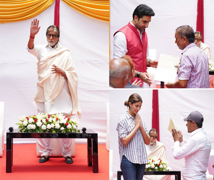 Big B (L) was accompanied by son Abhishek Bachchan (in coral Nehru jacket) and daughter Shweta Bachchan-Nanda (right bottom picture to the left)