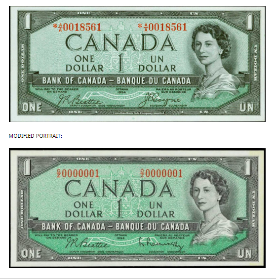 The original note (above) and the revised version (below).  ​(Image: canadacurrency.com​)