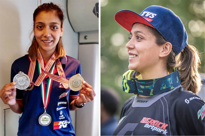 ​Aishwarya Pissay (FIM medals on the left) said becoming a racer takes a lot of time, dedication, perseverance and patience.