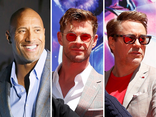 Dwayne Johnson (L) leads the list with Chris Hemsworth and Robert Downey Jr.​ following.