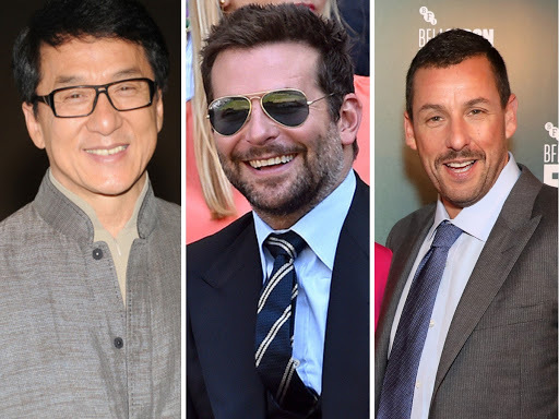 From left: J​ackie Chan ($58 million), Bradley Cooper ($57 million), and Adam Sandler ($57 million) follow Kumar on the list.​