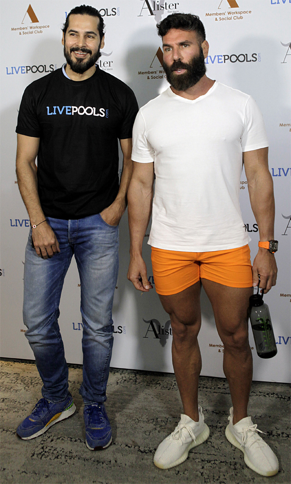 ​Dan Bilzerian poses with Dino Morea at an event to announce his association with sports predictor platform LivePools, in Mumbai.