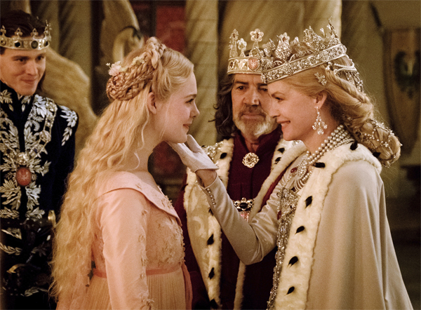​Harris Dickinson as Prince Phillip, Elle Fanning as Aurora, Robert Lindsay as King John and Michelle Pfeiffer as Queen Ingrith in a scene from the film.​