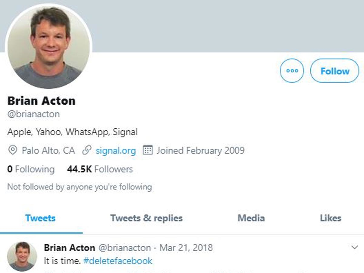 Even though Acton has given up on Facebook and prefers Twitter, the tech honcho is not very active on the microblogging site.