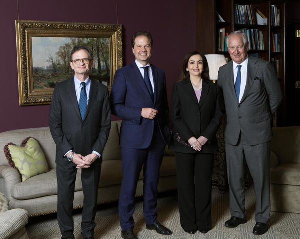 ​Nita Ambani (2nd ), Founder and Chairperson of Reliance Foundation with the Metropolitan Museum of Art leadership - Daniel Brodsky, Chairman of the Board; Daniel Weiss, President & CEO; and Max Hollein, Director, on the occasion of her election to the board of trustees.