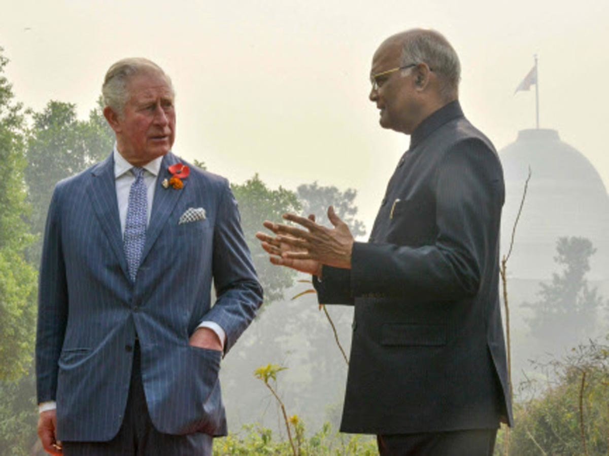 Prince Charles (L) interacts with Ram Nath Kovind (R), the President of India, at Rashtrapati Bhavan.
