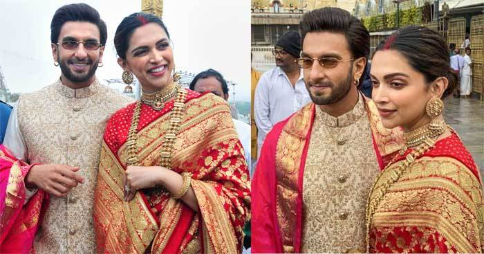 Ranveer ​Singh and ​Deepika Padukone were clicked exchanging a good laugh outside the temple premises.​