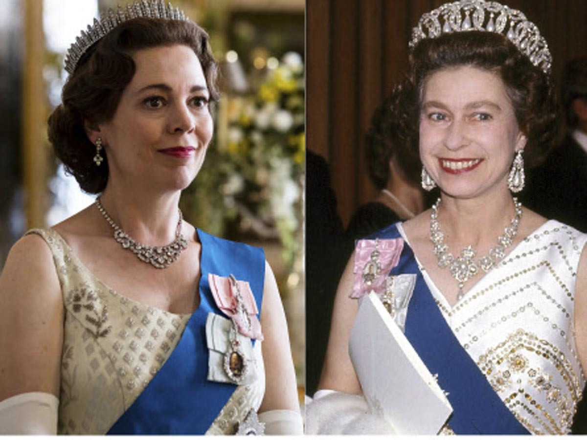 Olivia Colman (left) portraying Queen Elizabeth II (right) in a scene from the third season of 'The Crown'.